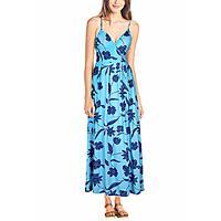 Women's Boho Floral Print V Neck Spaghetti Strap Long Maxi Dress Sundress[40% off]. $11.39