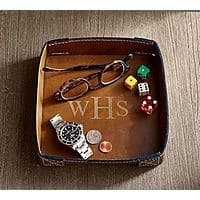 Pottery Barn: Leather Catch All $7, Men's Leather Cuff Link Box $14 + Free S/H