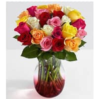 Groupon/ProFlowers: Two Dozen Colorful Roses w/Red Ombre Vase $15.97 Delivered