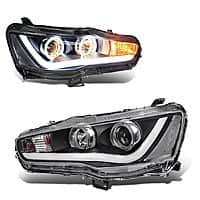 Mitsubishi Lancer Headlight,Replacement Halo DRL Headlamp Assembly for $  314 @Amazon