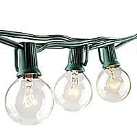 25-Feet Outdoor String Light with G40 Clear Globe Bulbs $  9.67 AC + Free Shipping With Prime