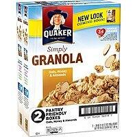 2-Pack of 28oz Quaker Simply Granola Oats Cereal (Honey & Almonds) $5.56 or Less w/ S&S + Free Shipping ~ Amazon