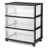 Sterilite 3-Drawer Wide Cart w/ Casters (Black) $15