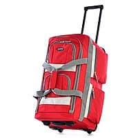 Olympia Luggage 8 Pocket Rolling Duffel Bag (Red only) $17.75 at Walmart or $18.12 at Amazon + FS w/ prime