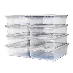 Homz Snaplock® 28 Quart Clear Underbed Storage Container with White Lid x8 $5.48