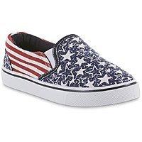 Basic Editions Boys' Revolve Blue/American Flag Casual Shoe $1.99