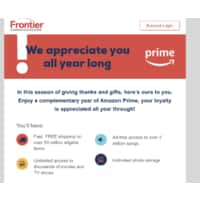 Free Year of Amazon Prime from Frontier Communications _ Check Email Image