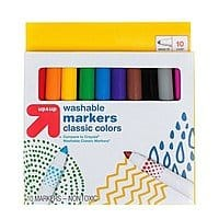 Markers Broad Tip Washable Classic Colors 10ct (Compare to Crayola® Washable Classic Markers) -Free store pick up $0.55
