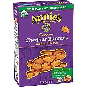 *Back* 7.5-Oz Annie's Cheddar Bunnies Baked Snack Crackers (Original Cheddar) $1.50 w/ Prime or $25+