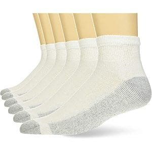 6-Pack Hanes Men's Cushioned Ankle and Reinforced Heel and Toe Ankle Socks (White, Shoe Size 6-12) $5.50 + Free Shipping w/ Prime or $25+
