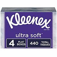 4 pack Kleenex Ultra Soft Facial Tissues, 110 Tissues per Box, $4.09 w/ S&S, $3.66 W/ 5+ items, Amazon