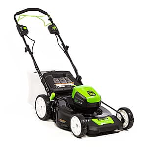 Greenworks - 21in. Pro 80-Volt Self Propelled Brushless Cordless Walk Behind Lawn Mower (4.0Ah Battery and Charger Included) - Black/Green, $399.99, free shipping, Best Buy