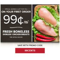 $0.99/lb Boneless Skinless Chicken Breasts - 40lb boxes $39.60 @ ZayconFresh.com