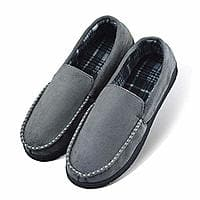 LA PLAGE Men's Anti-Slip Indoor/Outdoor Microsuede Moccasin Slippers with Hardsole  $8 AC FS @ Amazon