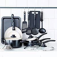 18-pc GreenLife Soft Grip Toxin-Free Ceramic Non-Stick Cookware Set $50 + Free Shipping