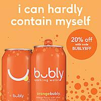 20% off bubly sparkling water 18 pack with Promo Code 'BUBLYBFF' $  8.8