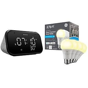 Lenovo Smart Clock Essential - Gray and C by GE - Soft White Direct Connect (4 A19 Smart LED Light Bulbs), 60W Replacement - White $29.99 @ Best Buy