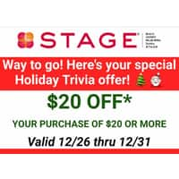 Stage Stores $20 off your next purchase of $20 or more