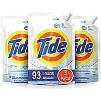 3-Pack 48oz Tide Liquid HE Laundry Detergent Pouches (Free and Gentle) $11.95