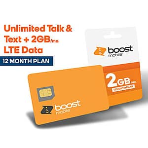 1 year prepaid phone plan, Boost Mobile 2GB/M $93.34 after tax $85.50 pre-tax, Tello 1GB/M $67.15, at StackSocial