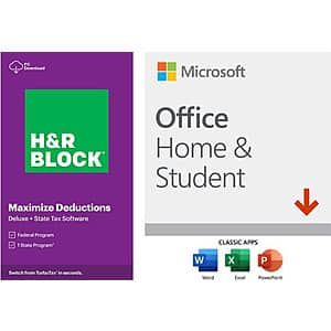 Microsoft Office Home and Student 2019 (1 Device, PC or Mac Digital Download) + H&R Block Tax Software Deluxe + State 2020 (PC Digital Download) $69.98
