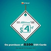 Additional $  4 Off on Purchase of $  100 Gift Cards