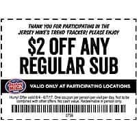 Jersey Mike's $  2 off coupon for regular sub