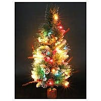 Artificial Christmas Tree on Wood Base with Ornaments and Pre-Lit Multi-Colored Lights $  16