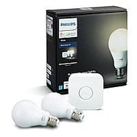 Prime Members w/ Alexa: Philips Hue White 60W Equivalent A19 LED Starter Kit w/ 2 Bulbs (2nd Gen) $  37.36 + Free Shipping