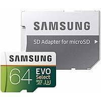 Samsung EVO Select U3 microSD Cards: 128GB $30 or 64GB $15
