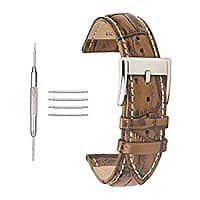Leather Watch Strap Replacement Clasp Calfskin Leather WatchBands 30% OFF @$  6.99+ FS @Amazon