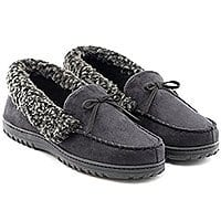 Men's Faux Fur Lined Suede House Slippers, Winter Moccasins with Arch Support 57% OFF @$  12.99 + FS