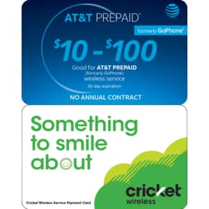 AT&T Prepaid and Cricket Wireless Prepaidcards, 13% off, Kroger gift cards + 4X fuel points