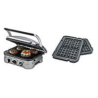 Cuisinart GR-4N 5-in-1 Silver Griddler, Black Dials, and Waffle Plates Bundle + Free Shipping $  55