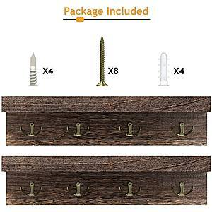 2-PACK Rustic Wood Floating Shelves with Hooks for $8.79 + Free Shipping w/ Prime