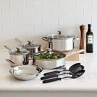 cooks 12 piece stainless steel cookware set for $1 after MIR