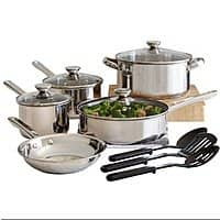 12-Piece Cooks Stainless Steel Cookware Set w/ Filler Item  $1 after $20 Rebate + Free In-Store Pickup