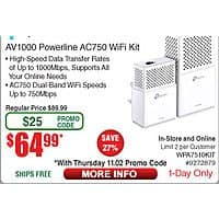 TP-Link AV1000 Gigabit Powerline ac Wi-Fi Kit $  64.99 AC shipped @ FRy's 11/2 only