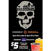 Regal Cinemas: The Goonies Movie Ticket (4/13 & 4/15) for $5. Small Popcorn & Soft Drink Combo for $5 too (Regal Crown Club Required)