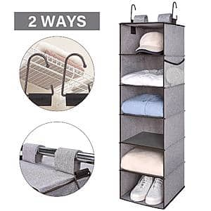 StorageWorks 6-Shelf Hanging Closet Organizer Mixing of Brown and Gray $12.50 + Free Shipping w/ Prime or Orders $25+