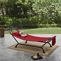 Mainstays Forest Hills Reversible Outdoor Hammock w/ Steel Base (Red/Red Stripe) $49.50 + Free Shipping