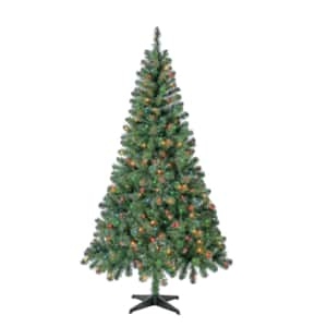 6.5' Holiday Time Pre-Lit Mini Multi-Color Lights Madison Pine Artificial Christmas Tree $40 + Free Shipping