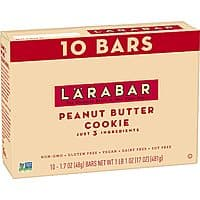10-Count 1.7-Oz Larabar Gluten Free Bars (Peanut Butter Cookie) $6.20 w/ S&S + Free Shipping w/ Prime or on $25+