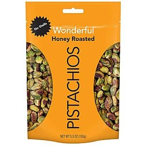 5.5-Oz Wonderful Pistachios (No Shells, Honey Roasted) $3.49 w/ S&S + Free Shipping w/ Prime or on $25+