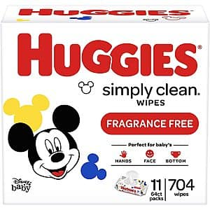 704-Count Huggies Simply Clean Baby Wipes (Unscented) $9.83 w/ S&S + Free Shipping w/ Prime or on $25+