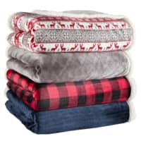 """90"""" x 90"""" Better Homes & Gardens Full/Queen Sherpa Blanket: Buffalo Plaid or Gray $14.98, Grey Fair Isle $16.98 + Free Shipping on $35+"""