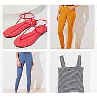 Loft B2G2 Women's Petite High Waist Sateen Pants + Modern Sandals + Petite High Waist Corduroy Pants + Striped Square Neck Tank $20.14 ($5.03 each) & More + F/S on $49+