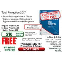 McAfee Total Protection 10-Dev/1Yr FAR @Frys (starts 12/7 w/emailed code)  Canon MG5720 Color MFC Printer $  44 JBLArena B15 Bookshelf Speakers $  59/pr