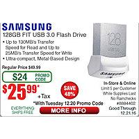 128GB Samsung Fit USB 3.0 Flash Drive $  26@Frys (w/emailed code starts 12/20  Linksys SE3008 8-port Gigabit Desktop Ethernet Switch $  20