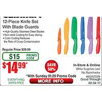 Cuisinart 12 Piece Advantage Color Knife Set  $  15 @frys (w/emailed code)